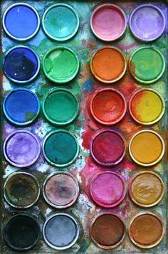 artists, color palettes, paint cans, acquerelli, pretty paintings, paint colors, beauti, colour palettes, rainbow