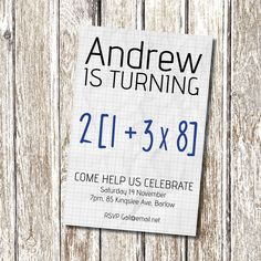 Math Equation 50th Birthday Party Invitation
