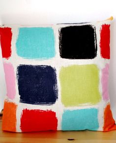 Scribble Square Cushion Cover by lemidijapon: Hand painted with the same fabric on front and back Cushion