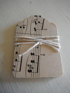 Shabby Vintage Music Sheet Tags