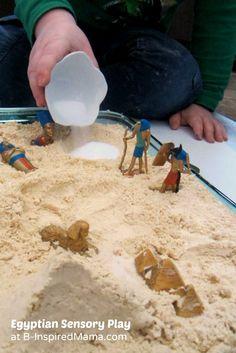 Egyptian Salt and Cloud Dough Sensory Play at B-Inspired Mama  #kids #sensory #spd #play #binspiredmama #kbn