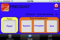 SLP-Dysfluency-Plus ($2.99) a tool designed by an SLP for on-line fluency evaluation. This application not only tracks 'Fluent' vs 'Dysfluent' words/syllables, but also, categorizes dysfluencies into the 3 common core behaviours: Repetitions, Prolongations & Blocks. Dysfluency Plus Index Counter provides the following results:  1. Total Fluent words/syllables  2. Total words/syllables  3. Totals for each of the following core behaviours:  a.Repetitions  b.Prolongations  c.Blocks