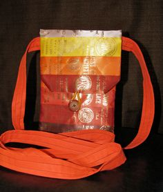 Campfire Ombre Shoulder Purse from dog show ribbons. Horse, dog, 4H, track, swimming, pageants. Ribbon display. Rosettes and awards. Ribbon quilting. Agility obedience training conformation. Repurposed vintage. Upcycle. Handmade. Bull Terrier.