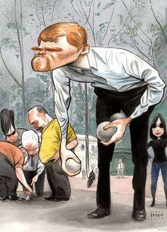 Steve Brodner for The New Yorker August 2010 Petanque petanqu player, bryant park, the new yorker, park artwork, parks