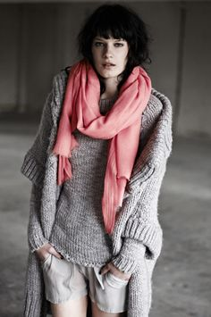 grey comfy sweater and pink scarf