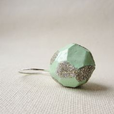 POP mint glitter ring - by #birdandbeau - #handmade #jewelry #shoplocal #raleigh #northcarolina #recycled #oneofakind