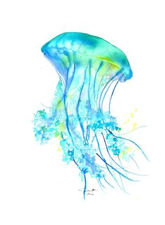 "Electric Feel: Print from Original Watercolor Jellyfish Series by Jessica Durrant - This print is sized 8.5"" x 11"" on 100# high quality laser print paper. ($26.00)"