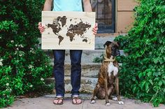 Find your way with a stained-wood map. #etsy