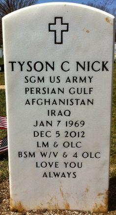Tombstone Tuesday Military Memories: Army Sergeant Major Tyson C. Nick, 1969-2012 #genealogy #familyhistory #militarymemories