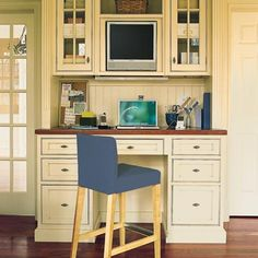 Built into the kitchen, this home office allows its homeowners to stay connected while cooking, cleaning, paying bills and overseeing homework. | Photo: Eric Piasecki | thisoldhouse.com