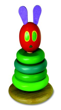 "Wood Stacker by Kids Preferred- Inspired by the main character of Eric Carle's The Very Hungry Caterpillar, this wood stacker is a must for your child. Standing 7.5 inches tall the caterpillar has four green ""segments"" that can be stacked onto the base and felt antennas for a softer touch."