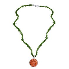 Liquidation Channel | Jalisco Fire Opal and Diamond Pendant in Platinum Overlay Sterling Silver (Nickel Free) with Russian Diopside Beads Necklace