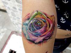 tattoo ideas, watercolor tattoos, colors, rose tattoos, matching tattoos, flower tattoos, rainbow roses, flowers, tattoo ink