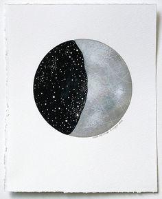 Moon and Stars - Original 8x10 Watercolour Art Painting - Constellations, Night Sky - by Natasha Newton