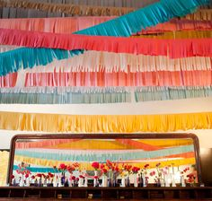 fringe garland (tissue paper) easy, cute and colorful. Oh and cheap!