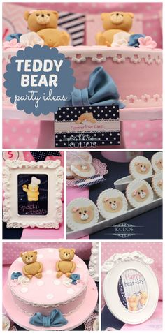 A Forever Friends teddy bear girl birthday party with decorated cookies and cute decor! See more party planning ideas at CatchMyParty.com!