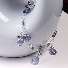 Mystic Blue Quartz Sterling Silver Bracelet,  Denim Blue Quartz Charm Bracelet, Blue Gemstone Bracelet on Etsy, $82.00
