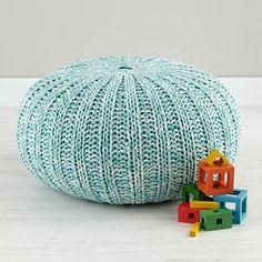aqua knit pouf | land of nod