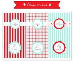 Free Christmas Tea Bag printable. Good for small gifts, stocking stuffer, or for cookie exchange