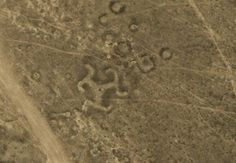 A geoglyph in the shape of a swastika in northern Kazakhstan