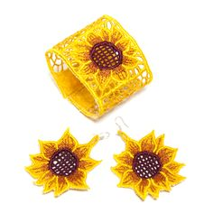 Bring a little spring to winter with these embroidered cuff and earrings!