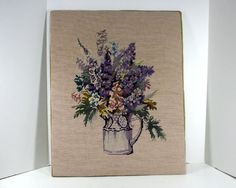 Vintage Crewel Embroidery  Pitcher of Purple Flowers by MysticLily, $27.50. Simply lovely