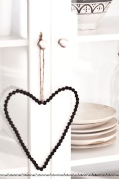 wooden bead heart
