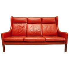 Red Leather Wingback Sofa, Denmark, 1970s.