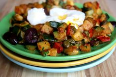 Mediterranean Vegetables & Poached Egg for Breakfast