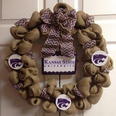 K State - Kansas State University Burlap Wreath