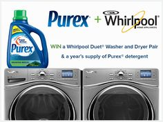 Win a Washer and Dryer Pair plus a year's supply of Purex detergent.
