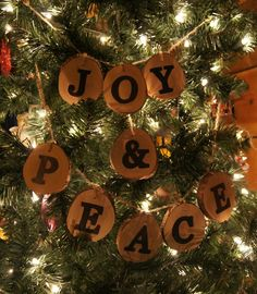 JOY & PEACE Banner Christmas Sign Reclaimed Mountain Laurel. $25.00, via Etsy.