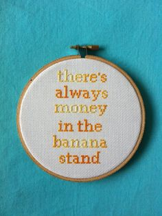 """Arrested Development """"There's Always Money in the Banana Stand"""" Cross Stitch"""