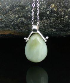 Zen Pendant in Sage, sterling and serpentine, zen jewelry