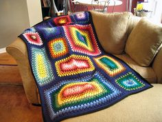 crochet afghan, blanket, rainbow granni, granny squares, granni squar, crochet afghgan, special granni, rectangl granni