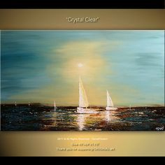 Original Modern Palette Knife Painting Boat In Sea by osbox, $375.00  Very nice..