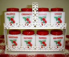 Tipp City Cherry spice jars with rack