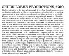 Those things at the end of big bang theory that you can never read 'Chuck Lorre Productions, #210'