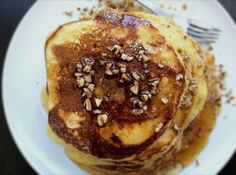Bourbon-Maple Syrup with Egg Nog Pancakes