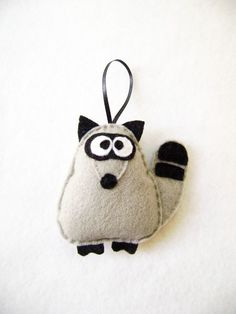 Christmas Ornament Felt - Garth the Gray Raccoon.  $11.50 from Etsy shop RedMarionette.
