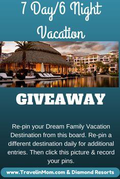 Win a 6 night/7 day vacation to your choice of  Orlando Grand Beach Vegas Polo Towers Hawaii Ka'anapali Beach Club Los Cabos Cabo Azul It's easy to enter! #DiamondResorts #tmom