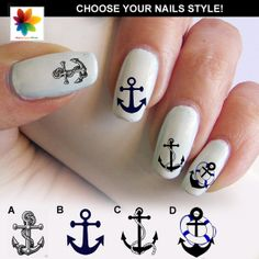 Navy anchor, Waterslide stickers Decal Nail, 90 decal finish for your nails with a crystal clear background  (C!!!) navy anchor nails, kitten cat, 4cat nail, nails cat decal, nail anchor decal, nail decals black cat, nail idea, decal nail, cat kitten