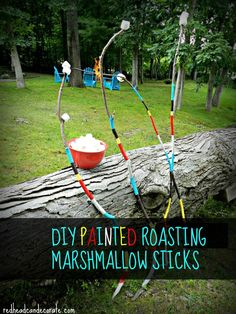DIY Painted Roasting Marshmallow Sticks-something you can use over and over, or give as a cute hostess gift! ~redheadcandecorate.com