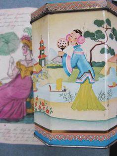 PRETTY VINTAGE ENGLISH TEA TIN WITH CHINOISERIE DESIGN