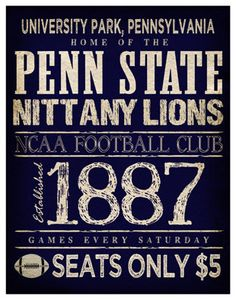 Penn State Nittany Lions Poster -  11x14 - Pennsylvania Football Print. $22.00, via Etsy.
