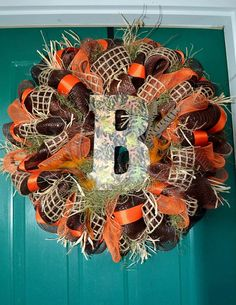 Camo brown orange tan Mesh Letter Wreath by LittleMissThangs, $75.00