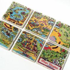Disney map coasters