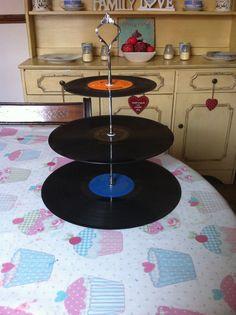 3 tier vinyl record cake stand