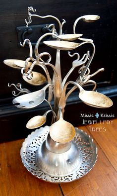 Vintage Whites Market: Jewelry tree from old silverware