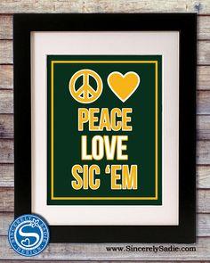 Baylor University Bears Peace Love Sic 'Em by SincerelySadieDesign, $9.95